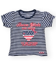 Afbeelding Born To Be Famous SS Shirt Navy Stripe SBGS39